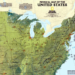National Geographic Web Maps - United States Physical Map